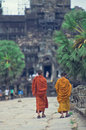 Monks at  Angkor Wat Stock Photography
