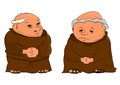 Monks cartoon illustration of two elderly vector Royalty Free Stock Photo