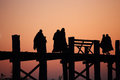 Monks crossing u bein bridge sunrise amarapura myanmar burma Stock Photography