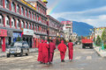 Monks in daocheng county five at sichuan Stock Photos