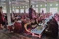 Monks eating lunch prepare to eat in maha ganayon kyaung monastery mandalay myanmar Royalty Free Stock Photo