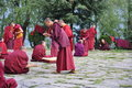 Monks engaging in rhetoric in bhutan discussion and philosophical Royalty Free Stock Images