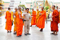 Monks on excursion Stock Images