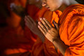 Monks Praying at the Marble Temple in Bangkok, Thailand