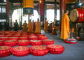 Monks reciting scriptures in daci temple chengdu china is taken Royalty Free Stock Photo