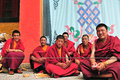 Monks in tibet some monk sin sangpi temple xiangcheng county sichuan Stock Photography