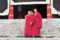 Monks in tibet two sangpi temple xiangcheng country sichuan Royalty Free Stock Images