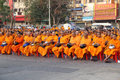 Monks wait the auspicious to walk nakhon ratchasima thailand feb international alms offering unidentified public Stock Photography