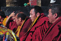 Monks are worshiping vulcan monk at xiami temple lhasa Stock Photography