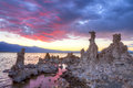Mono lake blood red sky over tufas in Royalty Free Stock Photo