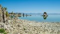 Mono lake the natural limestone tufa tower formations at and his reflex in Stock Photo