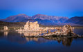 Mono lake sunrise reflections at showing interesting tufa formations Royalty Free Stock Image