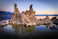 Mono lake sunrise reflections at showing interesting tufa formations Royalty Free Stock Photography