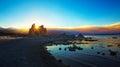 Mono lake sunset fire in yosemite makes for a nice orange hue on the horizon Royalty Free Stock Photo