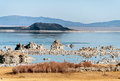 Mono lake tufa rock mystical eastern sierra nevada range Stock Images