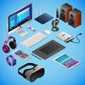 Monoblock and digital gadgets in isometry on blue background
