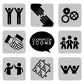 Monochromatic cooperation icons over white background vector illustration Royalty Free Stock Photo