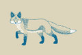 Monochromatic fox drawing in vintage style Stock Photo