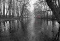 Monochromatic landscape of spring swedish river with red house Stock Photos
