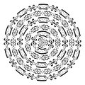 Monochromatic round pattern from the most popular frames texture on white isolated vintage background borders vector illustration Stock Photography
