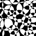 Monochrome Abstract background black and white intersecting circles seamless vector pattern. Modern backdrop overlapping