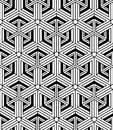 Monochrome abstract interweave geometric seamless pattern vecto vector black and white illusory backdrop with three dimensional Stock Images