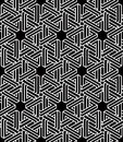 Monochrome abstract interweave geometric seamless pattern. Vecto Royalty Free Stock Photo