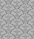 Monochrome abstract interweave geometric seamless pattern vector black and white illusory backdrop with three dimensional Stock Image