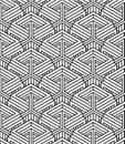 Monochrome abstract interweave geometric seamless pattern. Royalty Free Stock Photo