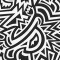 Monochrome african geometric seamless pattern Royalty Free Stock Photo