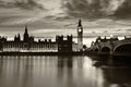 Monochrome big ben london and at night and england Stock Image