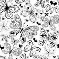 Monochrome black seamless pattern with lacy butterflies vector Stock Photography
