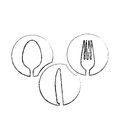 monochrome blurred contour of circular frames with silhouettes cutlery kitchen elements Royalty Free Stock Photo