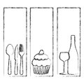 monochrome blurred contour with set frames with silhouettes cupcake and culinary elements Royalty Free Stock Photo