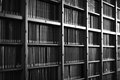 Monochrome book closeup of a large bookcase Royalty Free Stock Photos