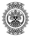 Monochrome Celtic ornament with a tree of life
