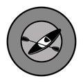Monochrome circular border with kayak sport