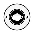Monochrome circular border with silhouette with tea kettle