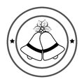 Monochrome circular emblem with christmas bells