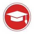 Monochrome circular emblem with graduation hat