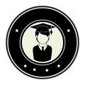 Monochrome circular emblem with half body man with graduation outfit