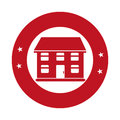 Monochrome circular emblem with house
