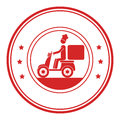 Monochrome circular frame with delivery man in scooter