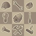 Monochrome construct icons Royalty Free Stock Photo