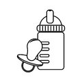 Monochrome contour with baby bottle and pacifier