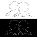 Monochrome contour silhouette of two doves and a heart valentines day and wedding card vector art illustration Royalty Free Stock Photo