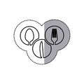 monochrome contour sticker of circular frames with silhouettes cutlery kitchen elements Royalty Free Stock Photo