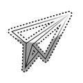 Monochrome contour sticker with paper airplane