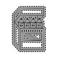 Monochrome contour sticker with pencils box
