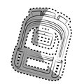 Monochrome contour sticker with school briefcase